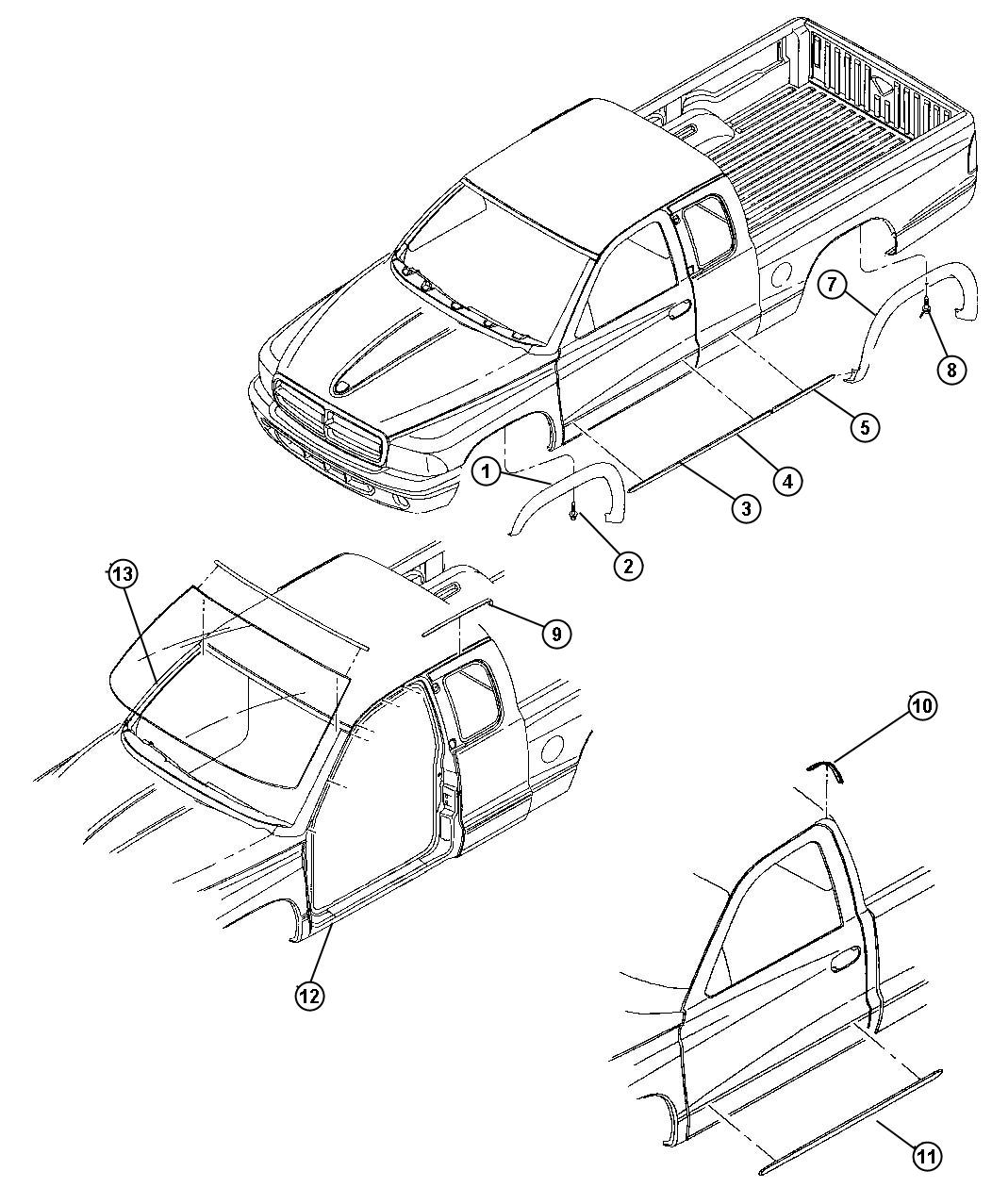 Dodge Dakota Slt Quad Cab 4 7l V8 A T 4x2 Molding