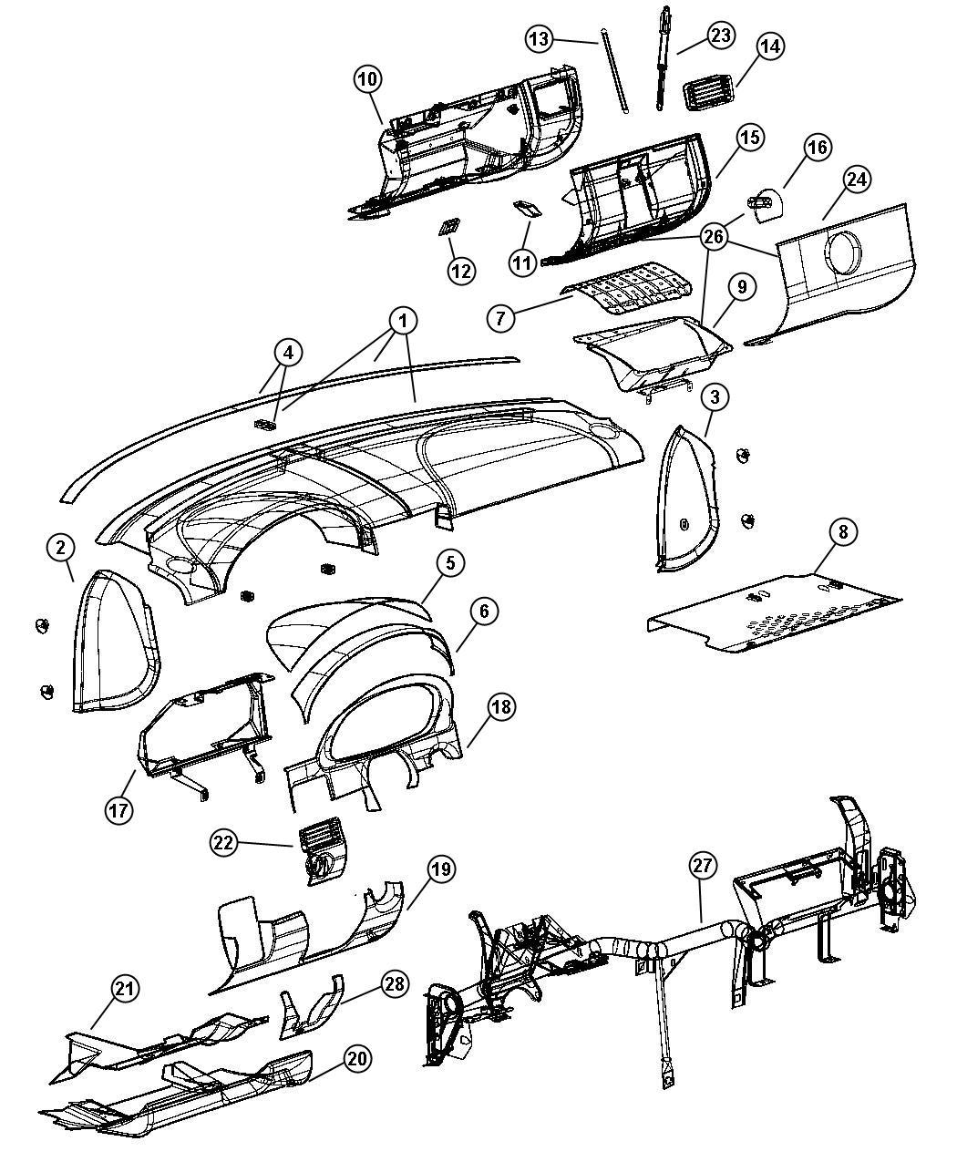 Chrysler Crossfire Glove Box Instrument Panel Open