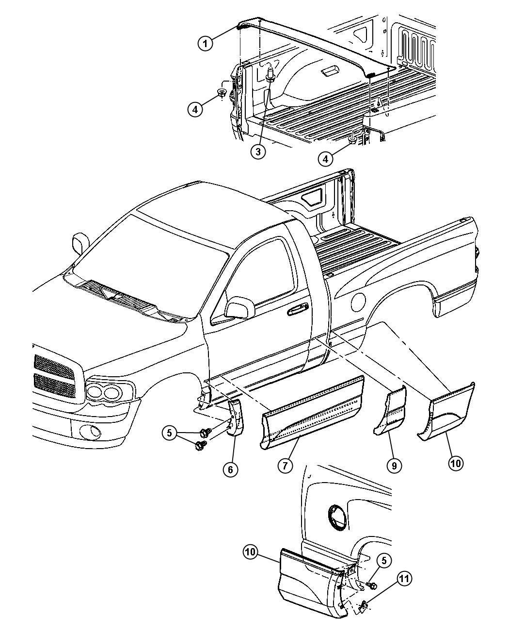 Dodge Ram Cladding Front Door Rear Door Left