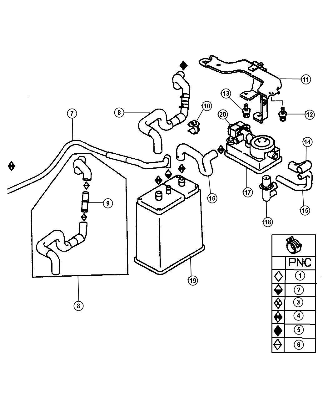 Chrysler Sebring Filter Fuel Vapor Canister Lx Lxi