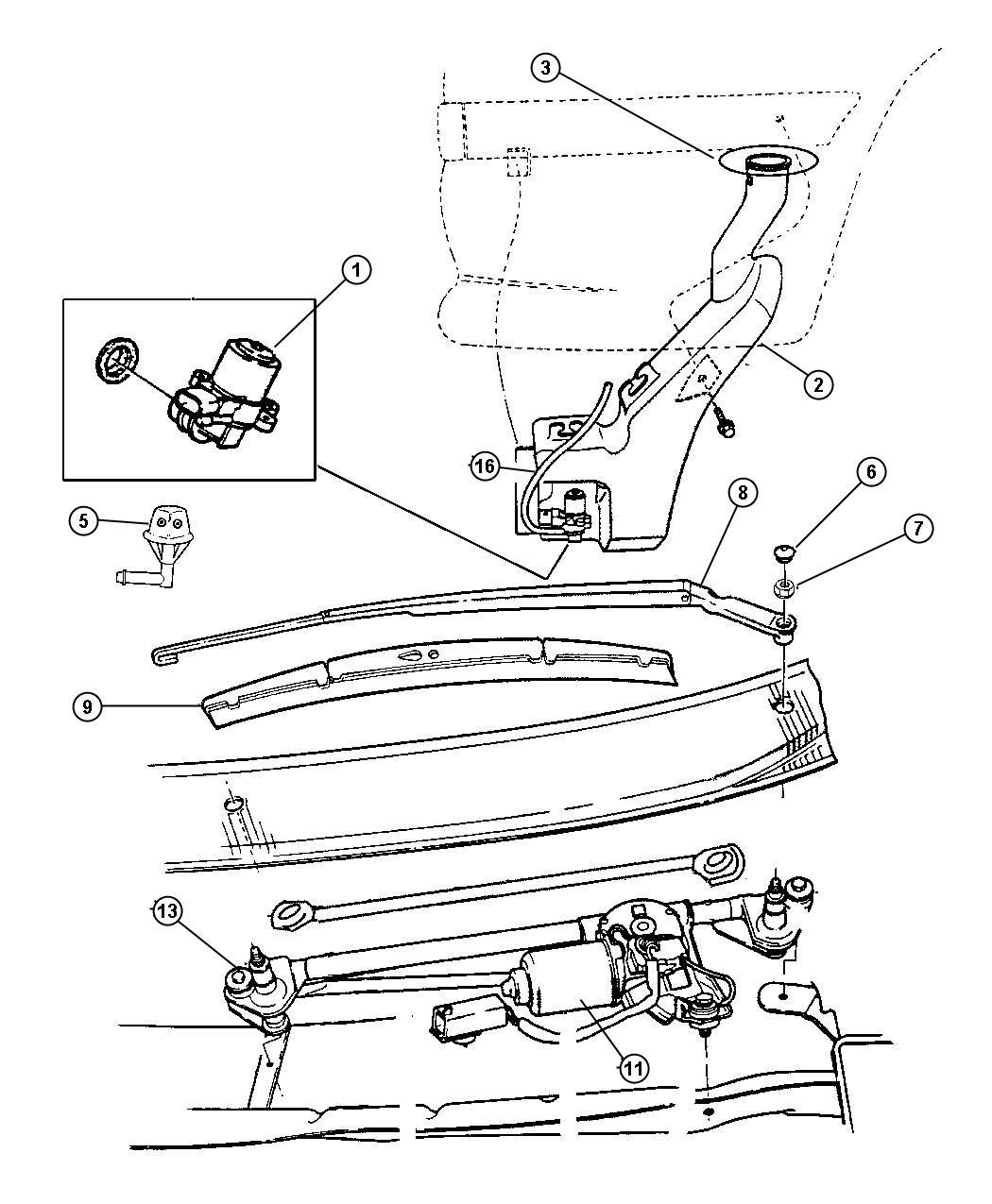 Dodge Intrepid Pump Washer Windshield W Seal