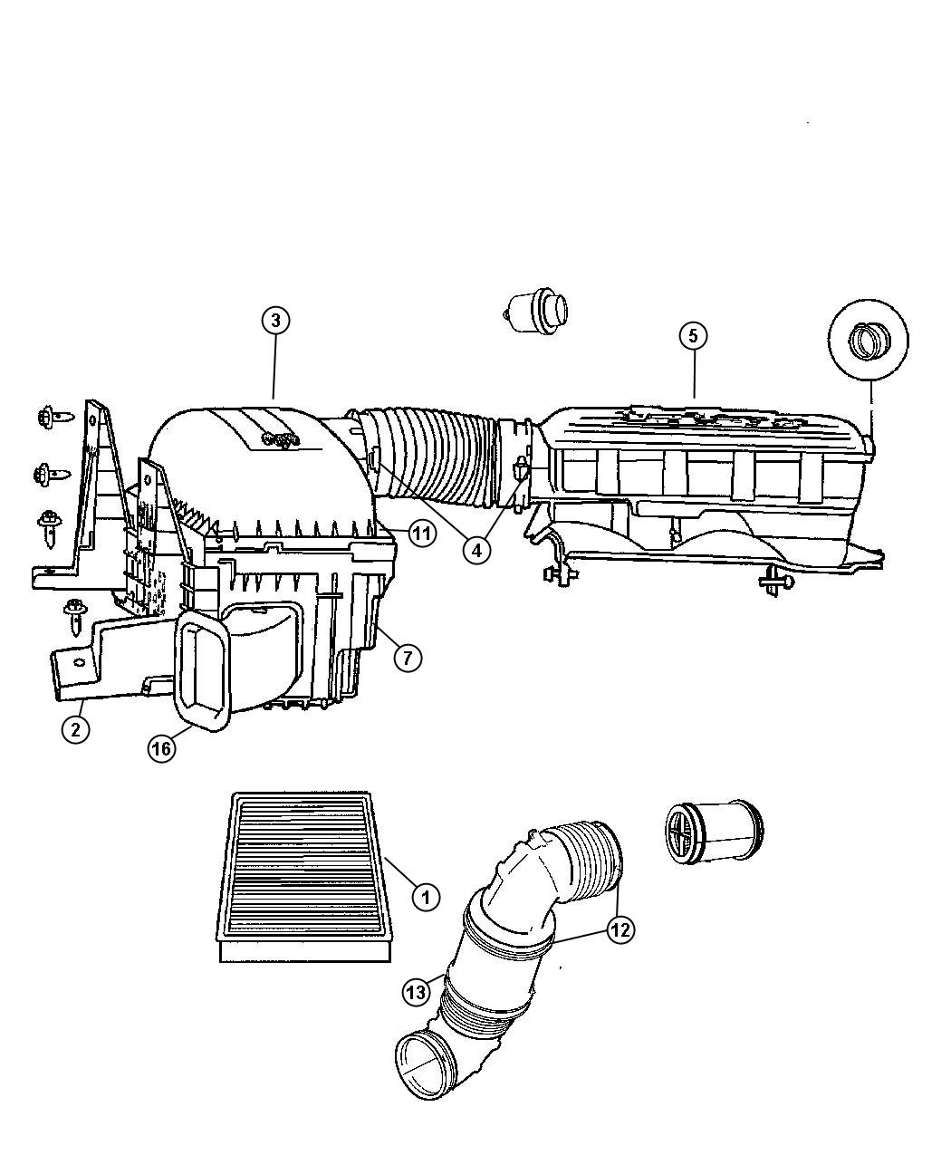 Dodge Ram Body Air Cleaner Export Compoants