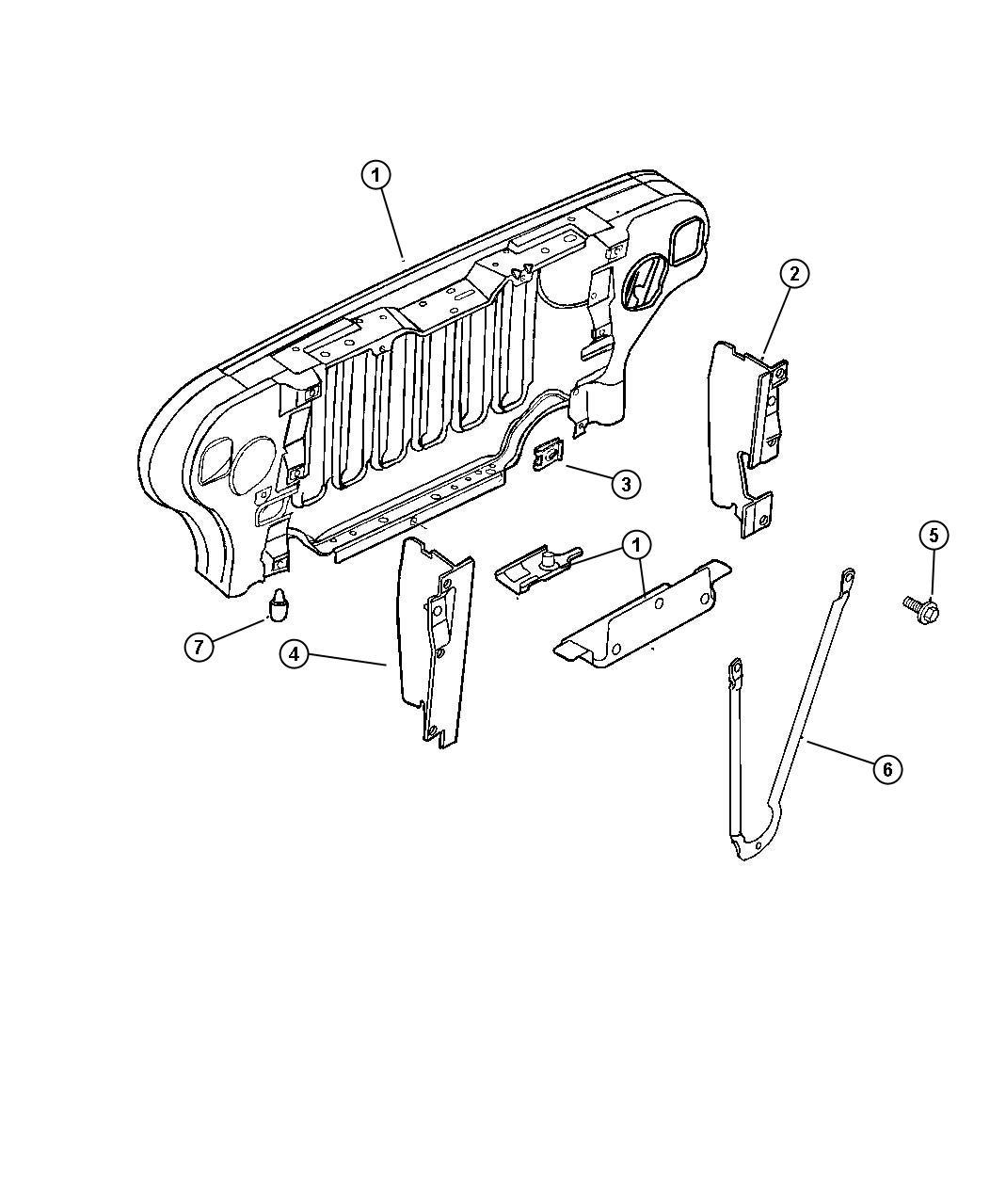 Jeep Wrangler Panel Radiator Closure After 1 3 97