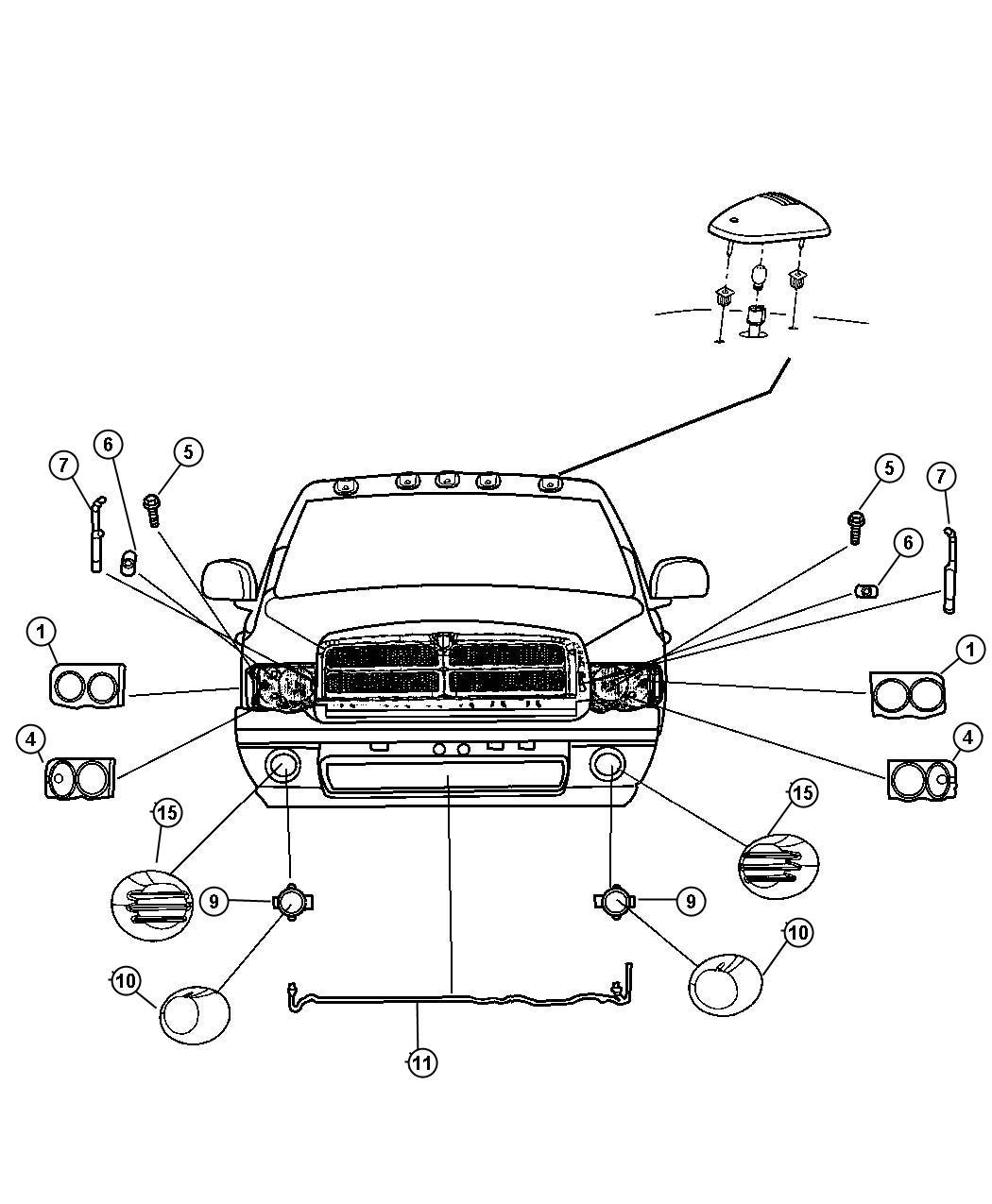 Dodge Ram Grommet Retainer Headlamp Headlamp