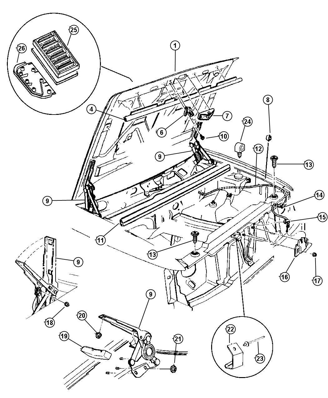 Dodge Dakota Retainer Hood Insulation 415x 690 Bfg