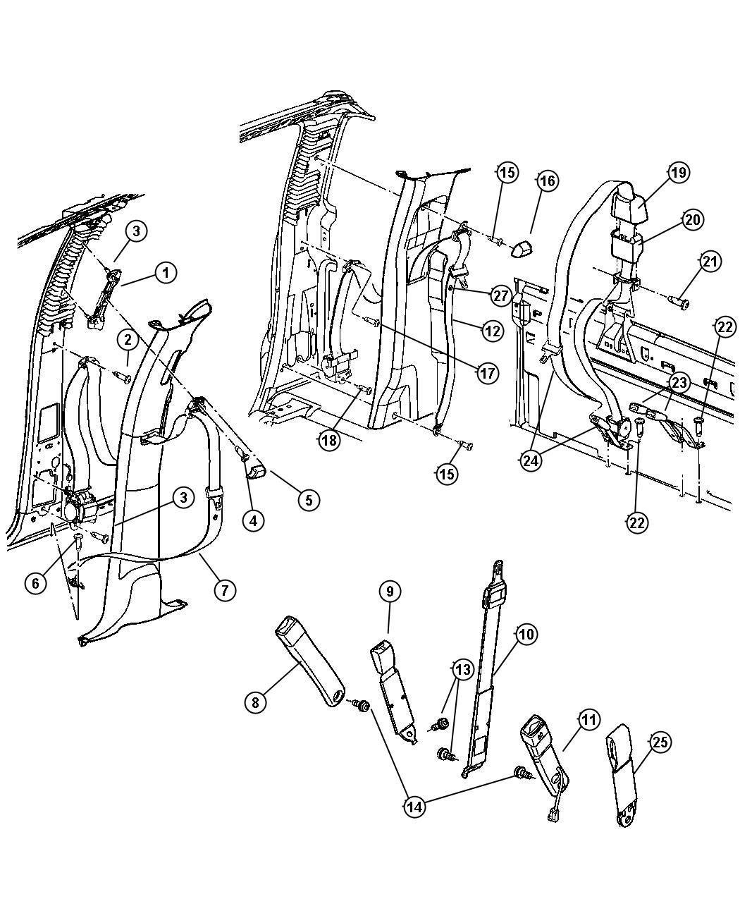 Dodge Seat Belt Front Outer Left J3 Trim All