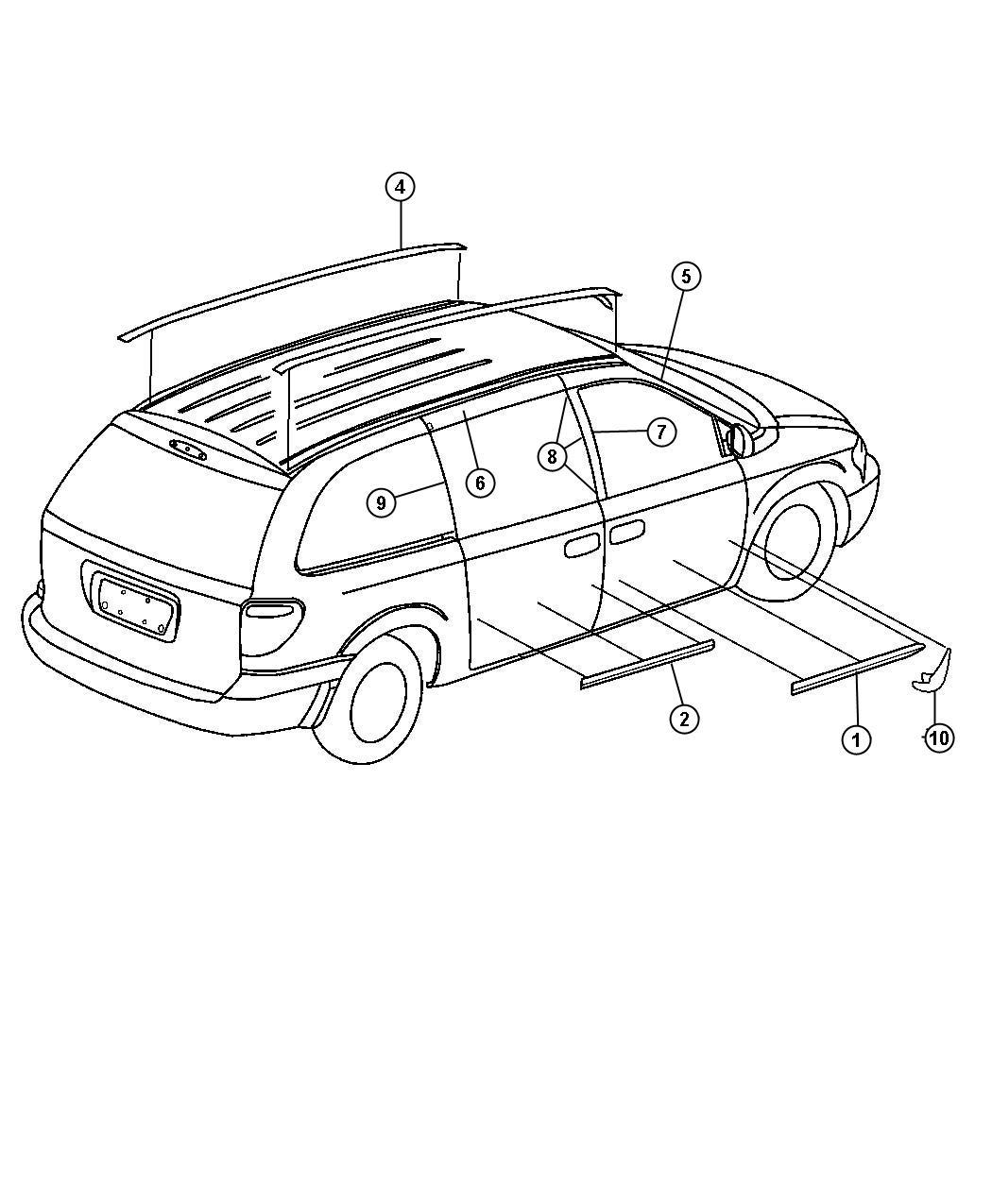 Dodge Grand Caravan Sxt 3 8l V6 Molding Roof Right