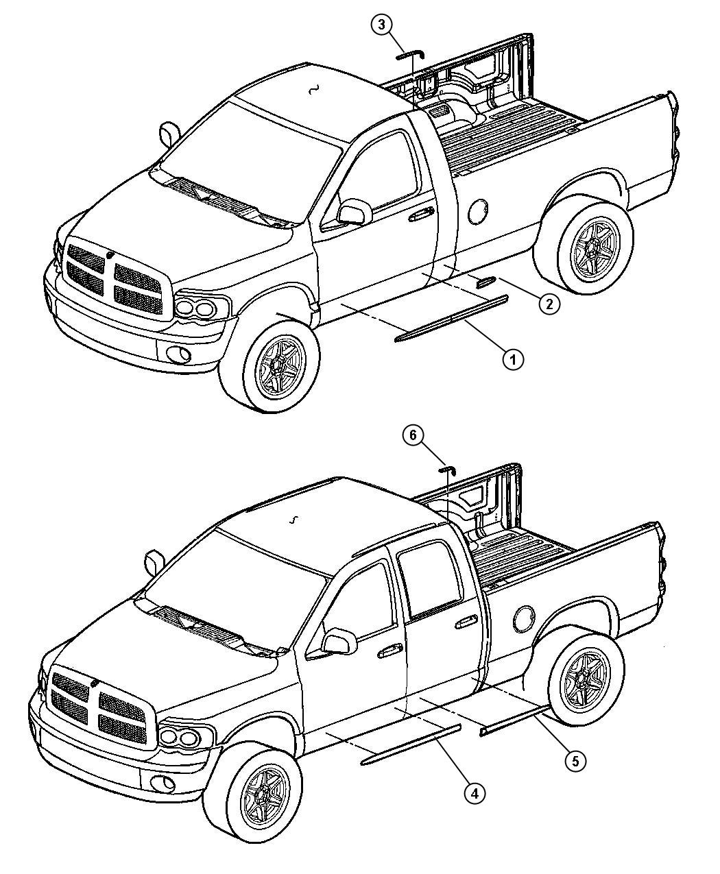 Dodge Ram Molding Front Door Quad Stripe Badge