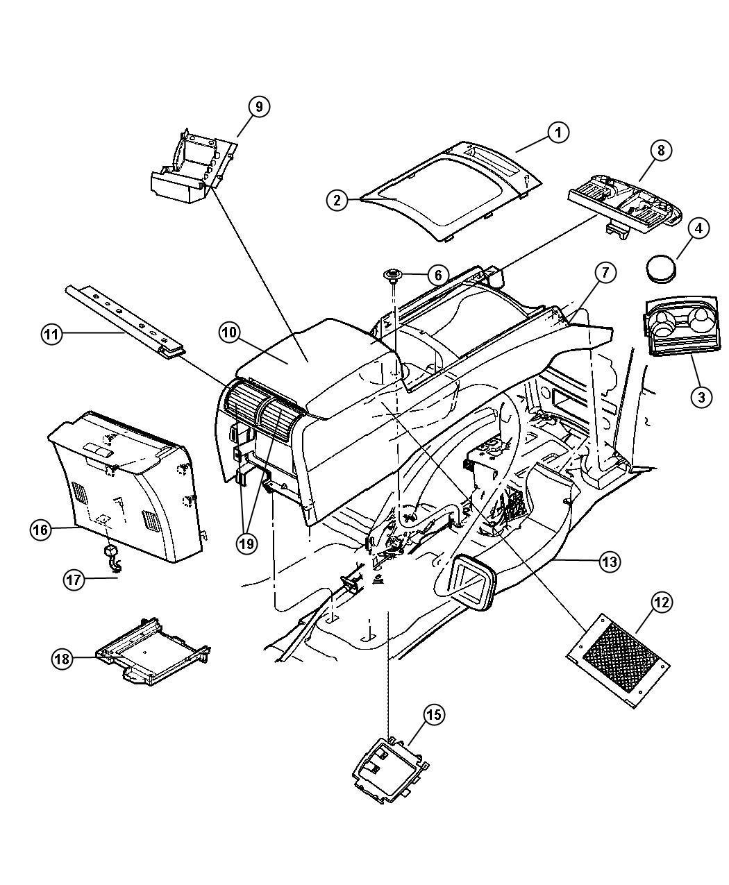 Jeep Grand Cherokee Console Lid Base Floor Console Bin