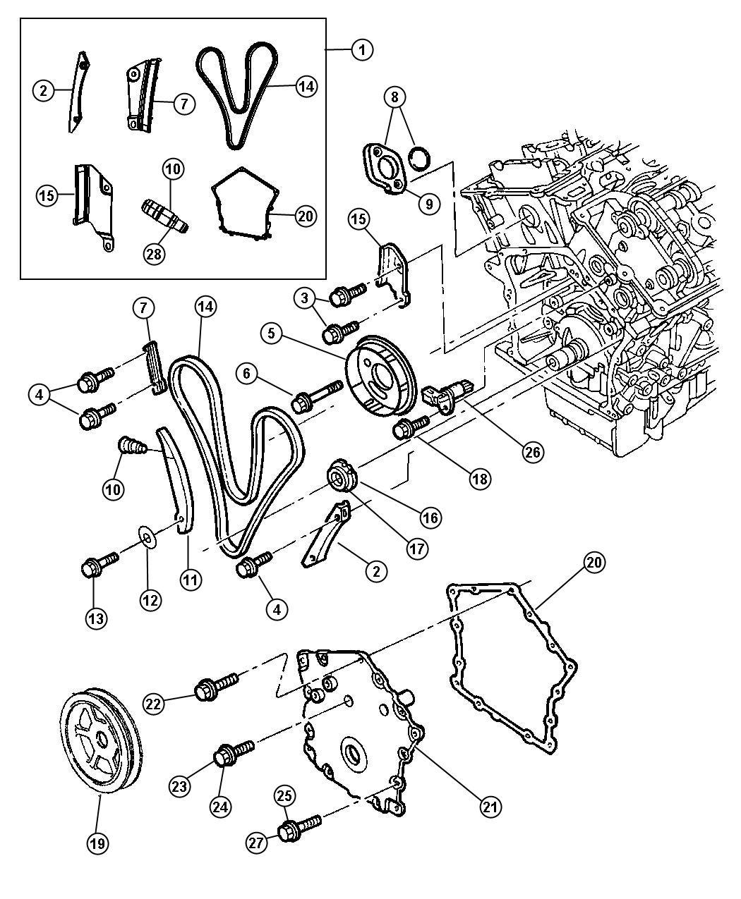 Chrysler Lhs Guide Timing Chain Left Left Short Left