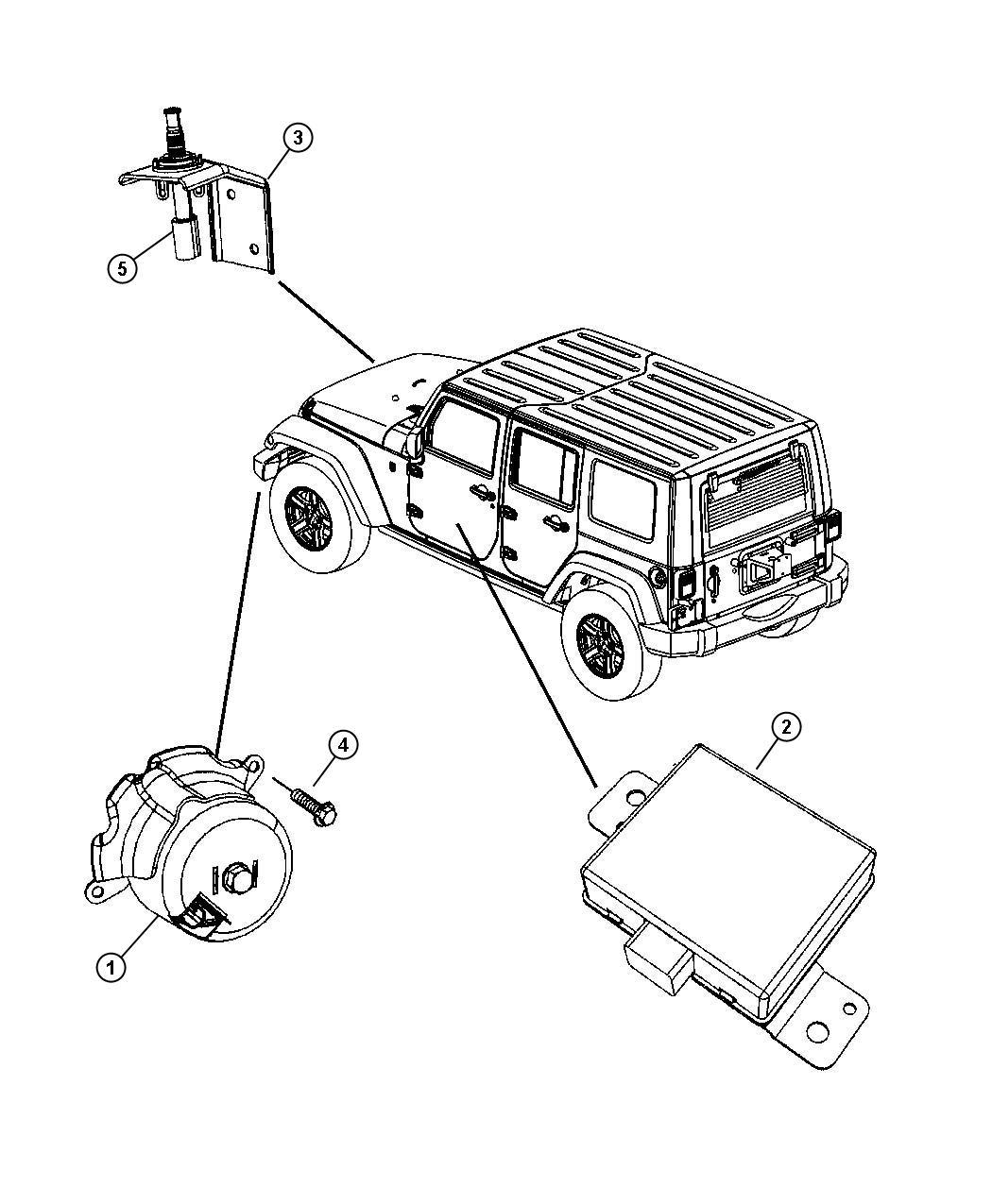 Jeep Wrangler Bracket Hood Switch Alarmremote Siren