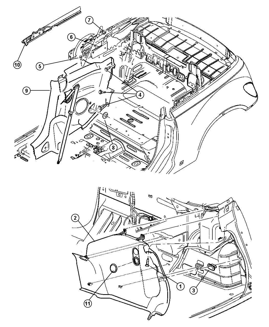 Chrysler Pt Cruiser Bracket Quarter Trim Left