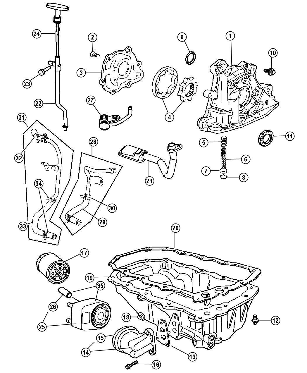 Chrysler Pt Cruiser Filter Engine Oil Suggested Drip