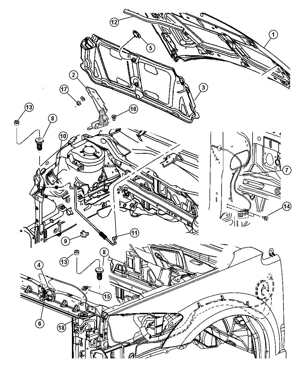 Dodge Caliber Reinforcement Hood Release