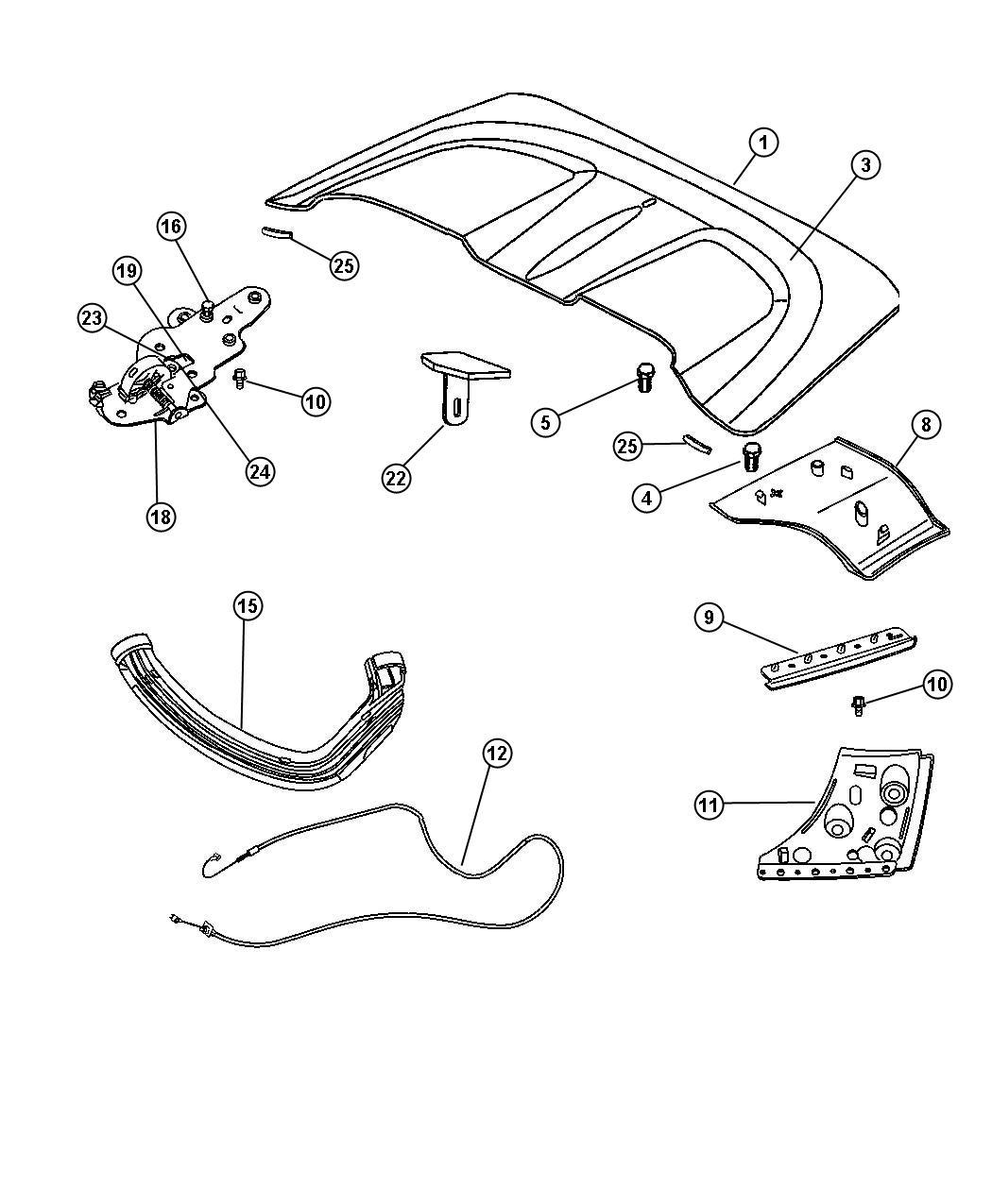 Chrysler Crossfire Seal Tonneau Side Flap Right Flaps