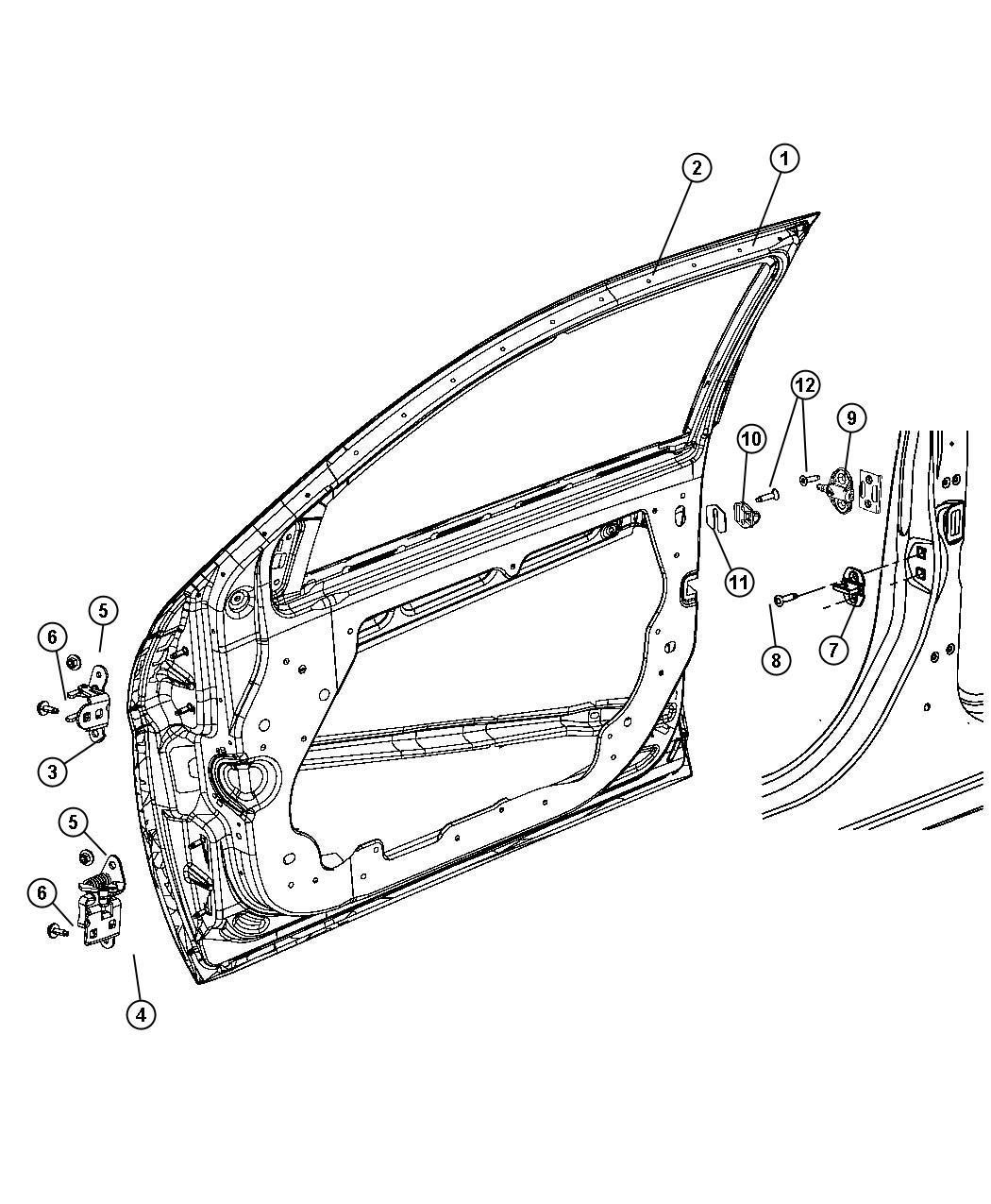 Chrysler Sebring Front Door Shell And Hinges