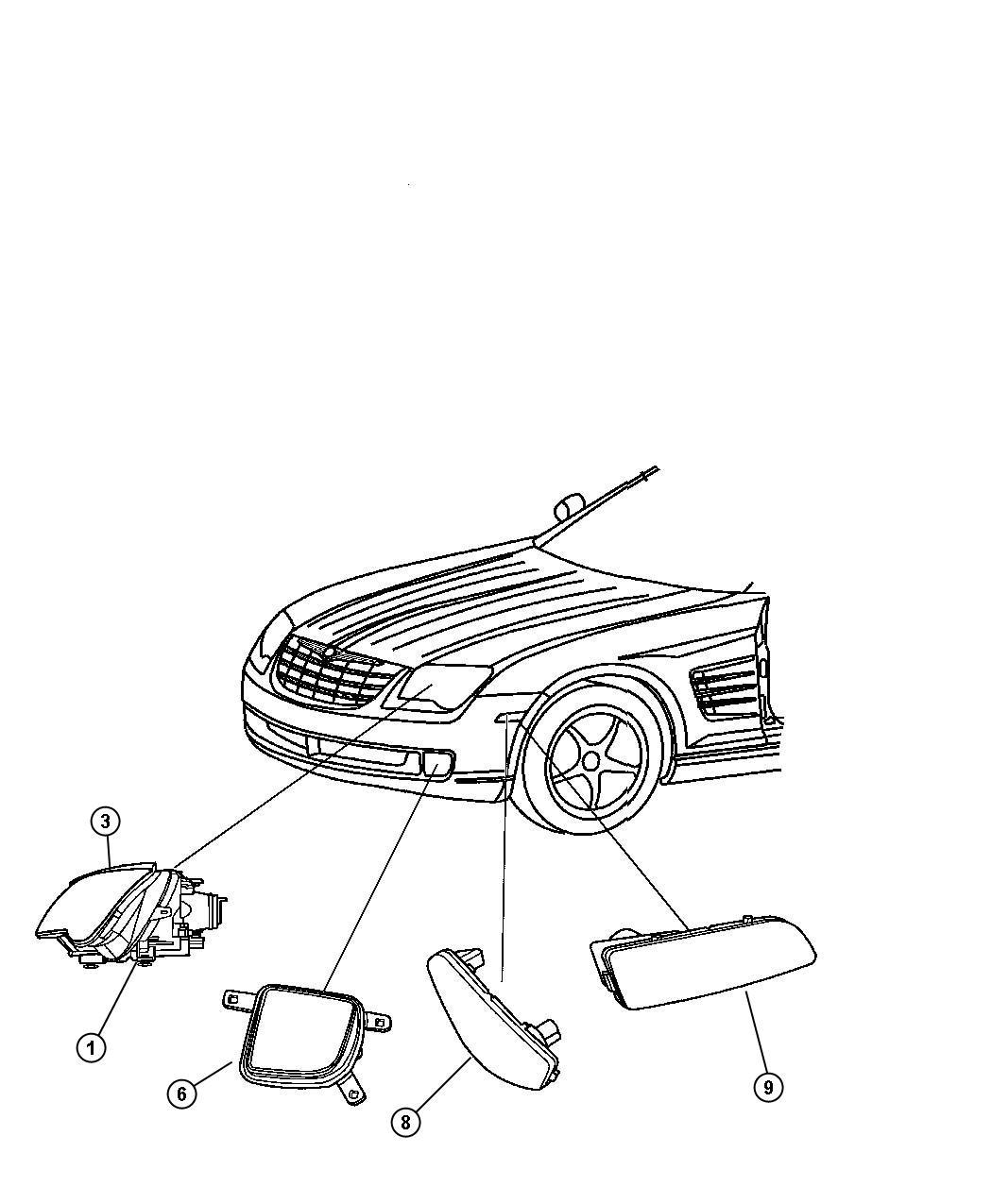 Chrysler Headlamp Lamp Left Specification