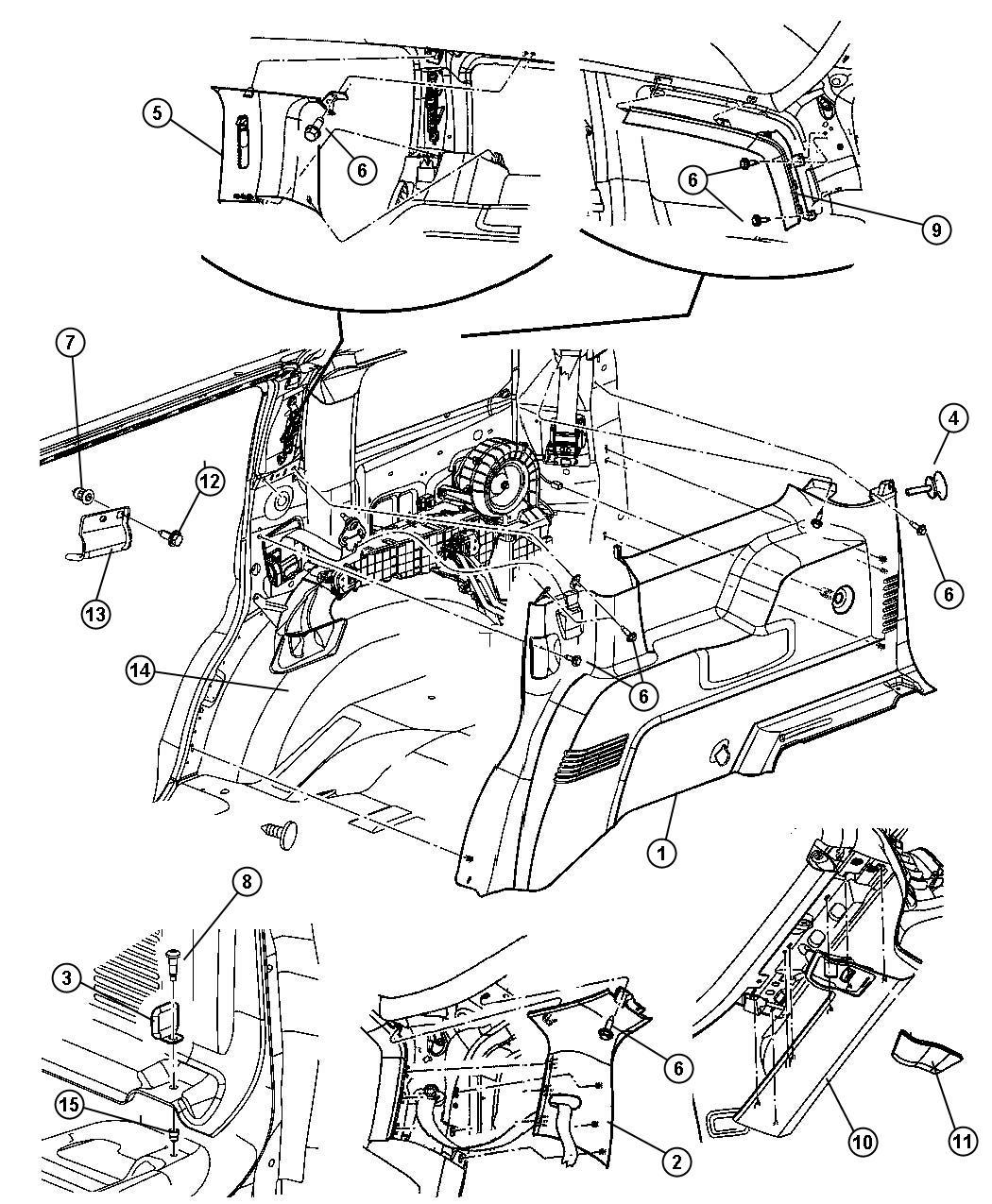 Chrysler Aspen Panel Rear Header Center Belt Bezel
