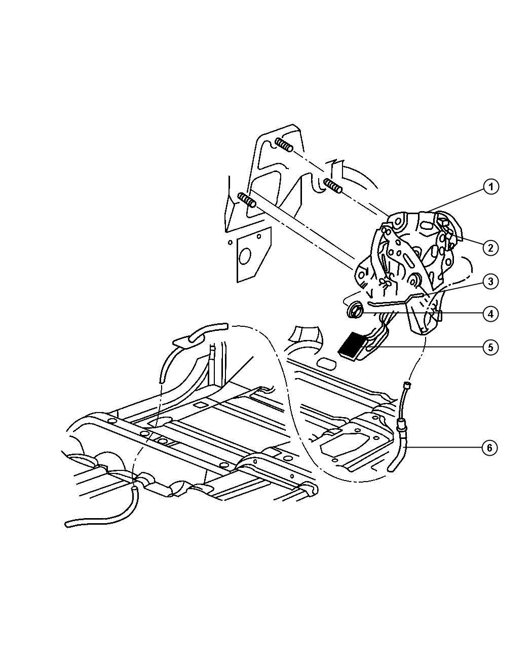 Dodge Ram Pad Parking Brake Pedal Cablesfront