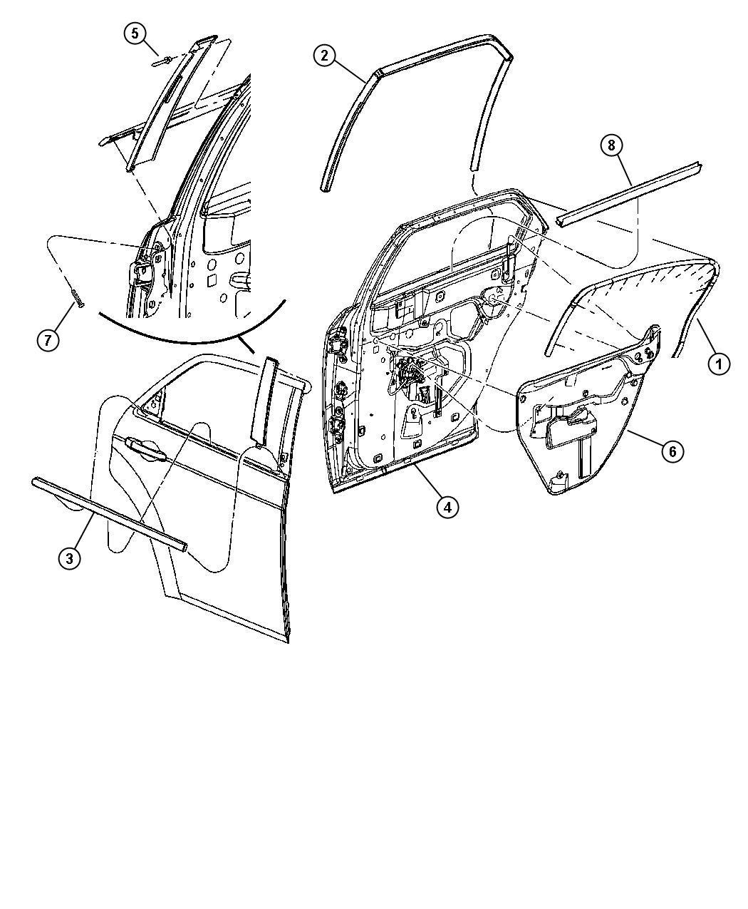 Dodge Magnum R T 5 7l Hemi V8 Weatherstrip Rear Door