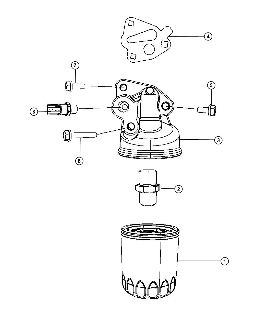 Dodge Caravan Adapter Oil Filter Includes Connector