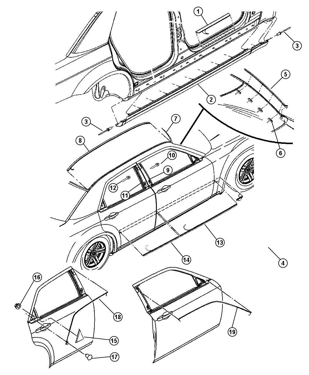 Dodge Magnum Base 3 5l V6 Cladding Sill Left Right