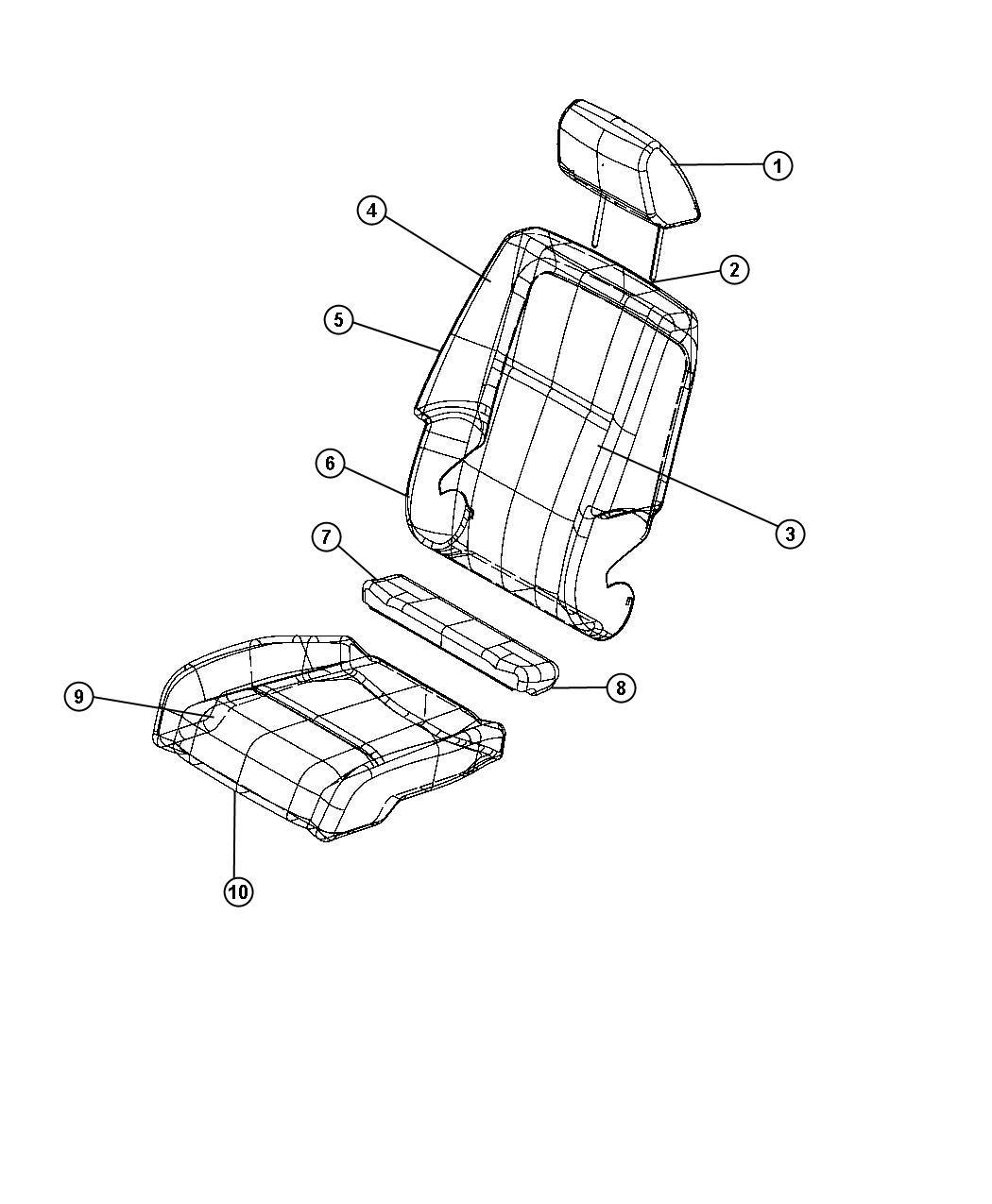 Dodge Journey Headrest Front Trim Cloth Low Back