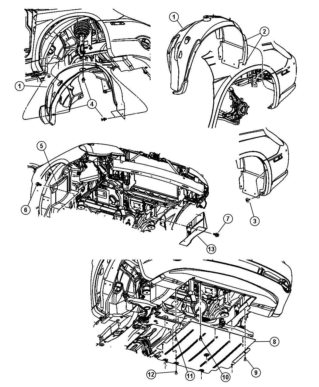 Chrysler Sebring Shield Fender Right