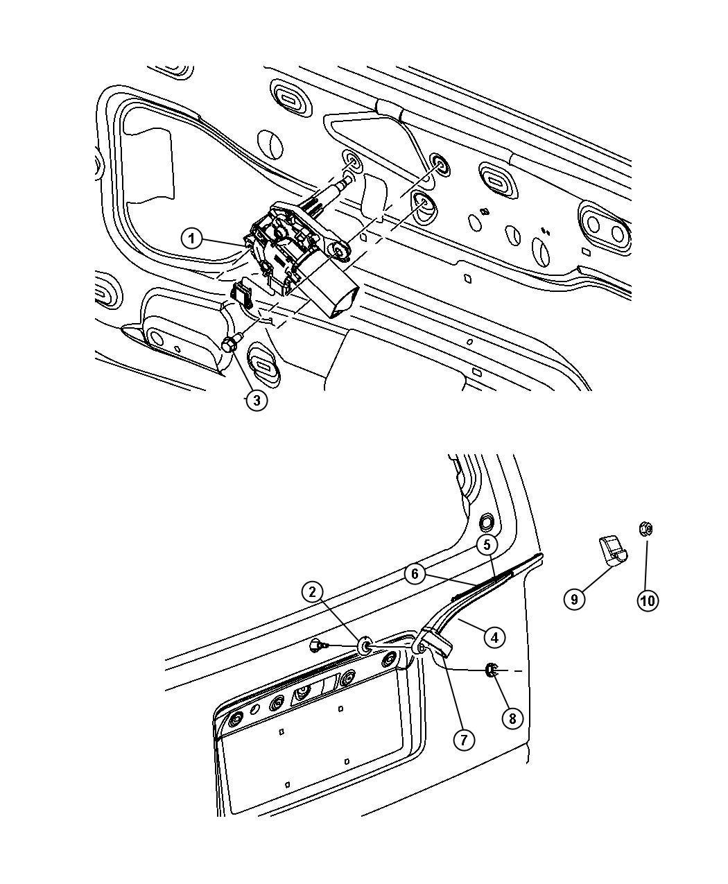 Jeep Liberty Grommet Rear Wiper Motor