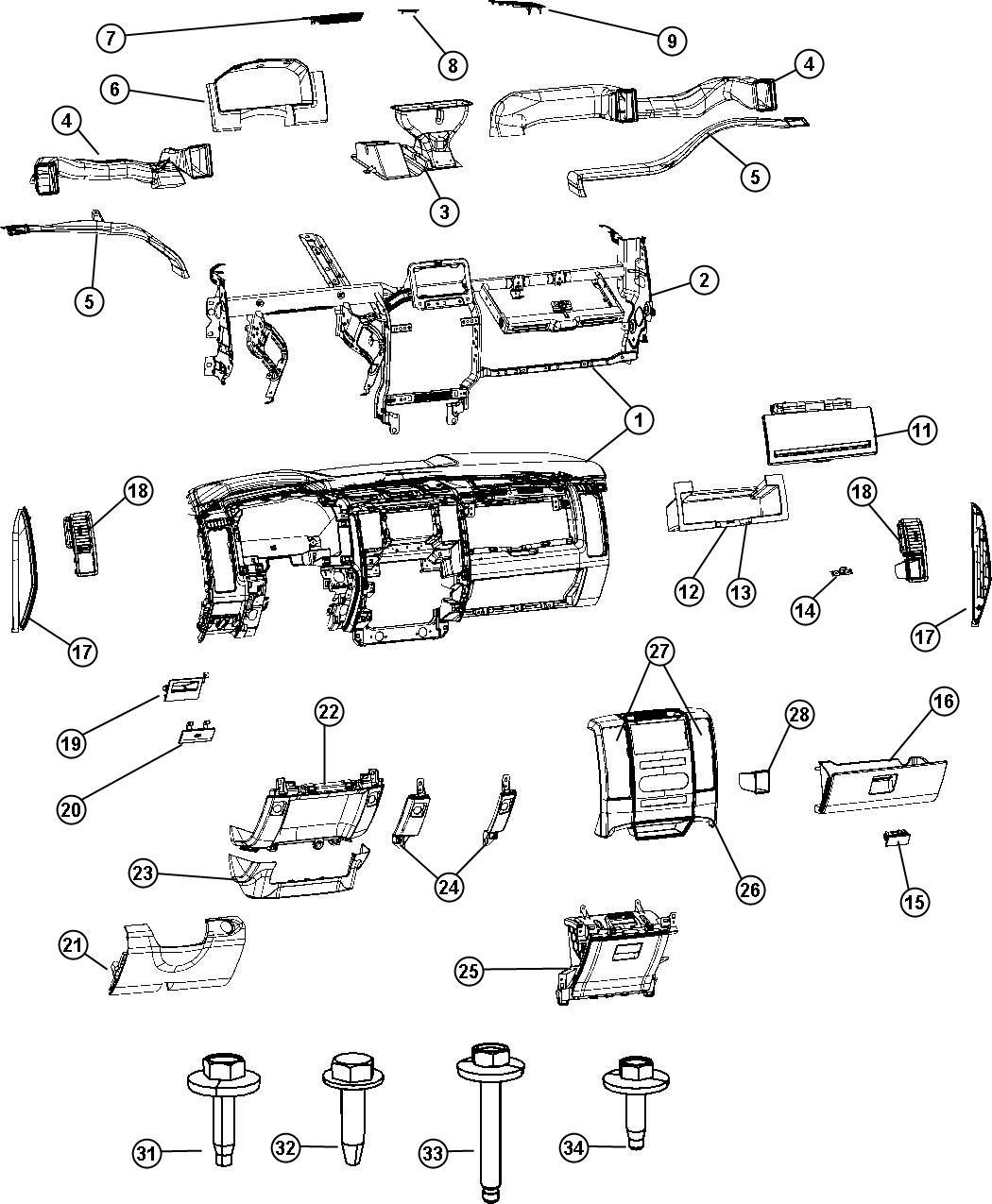 Dodge Ram Nut M6x1 00 Clip Ip To Biw Clip Ip To