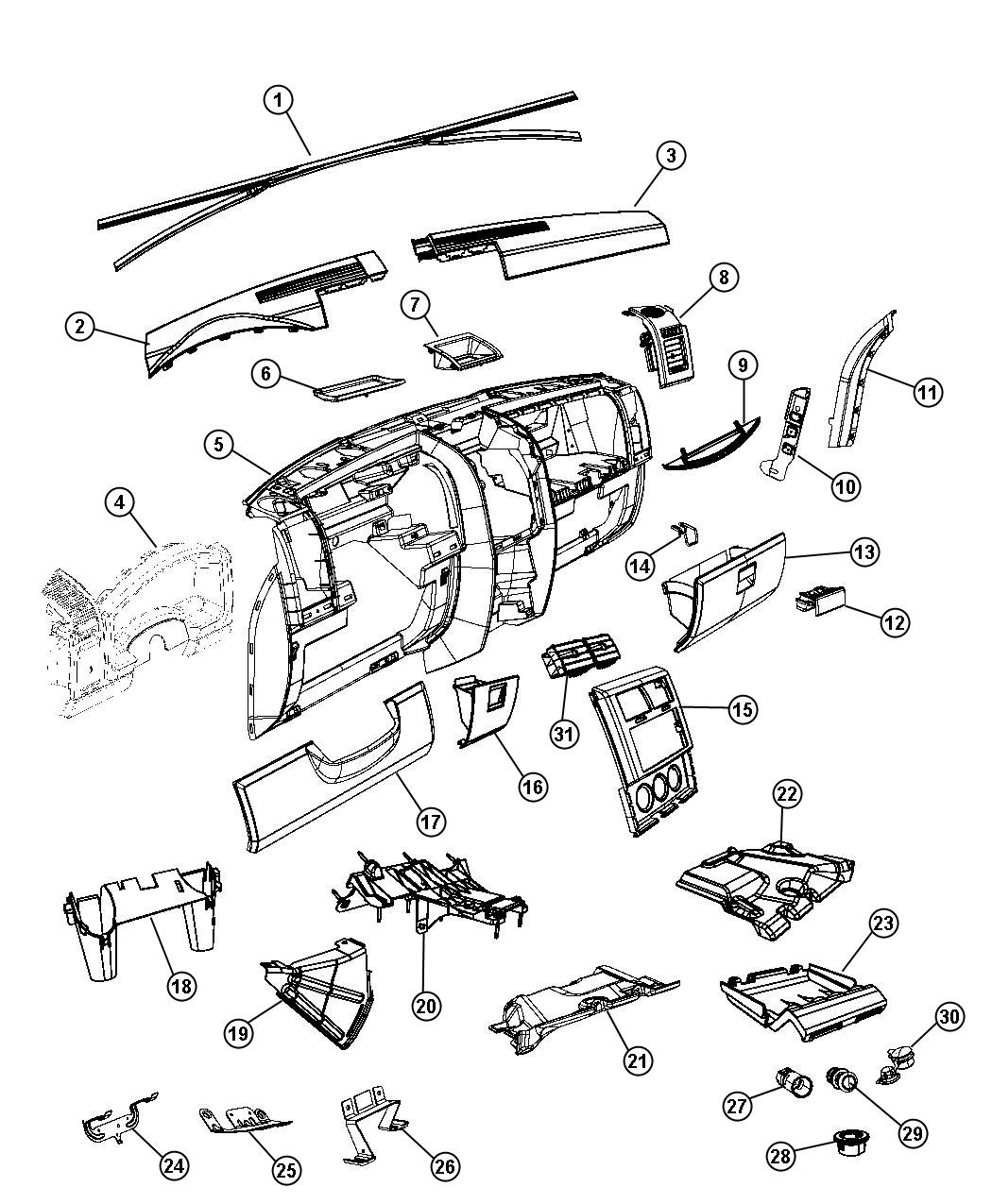 Jeep Liberty Bezel Instrument Panel Center Trim All