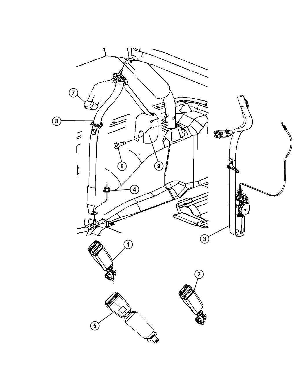 Jeep Wrangler Seat Belt Retractor Right Trim No