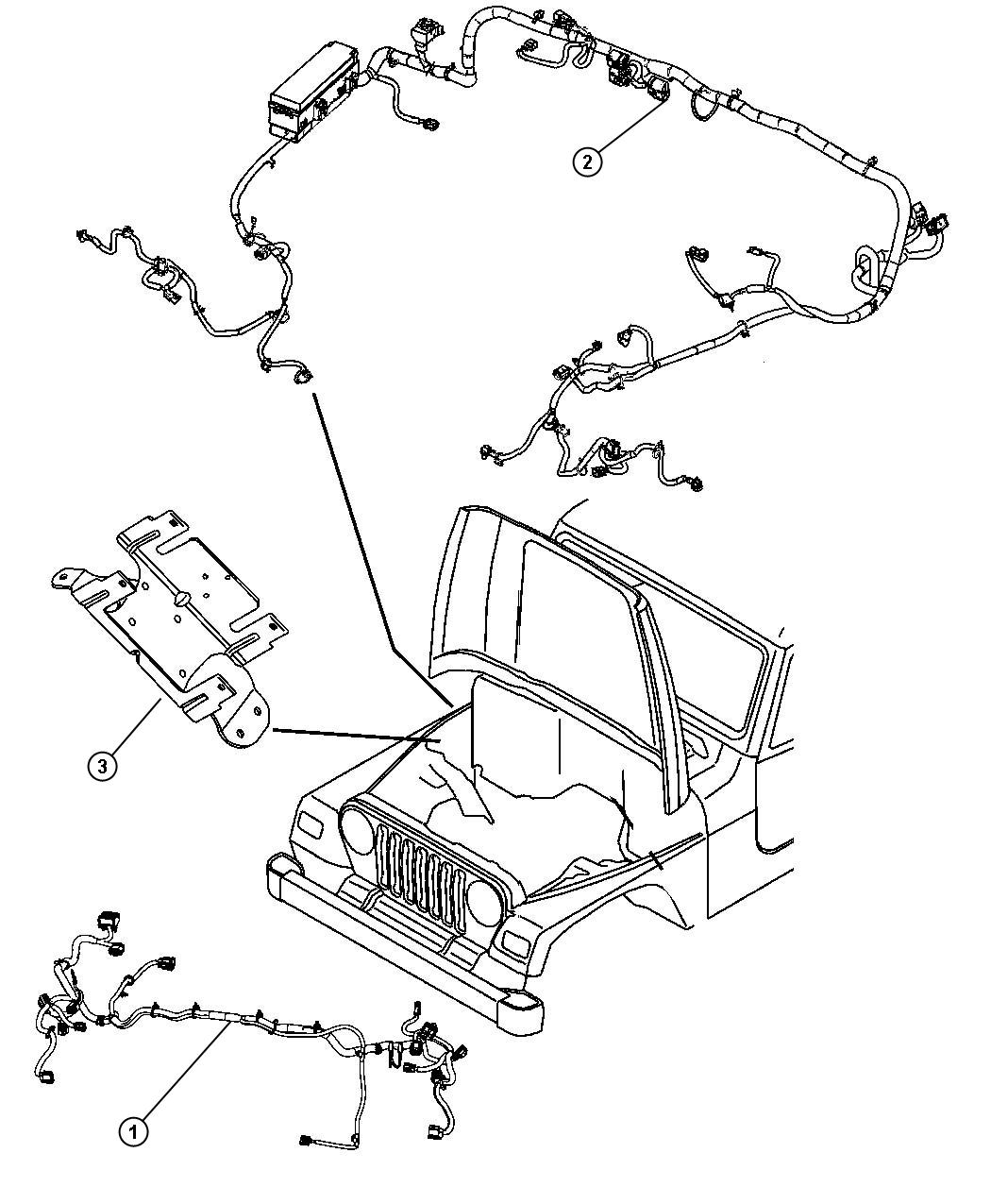 Jeep Wrangler Wiring Headlamp Export Front End Parts