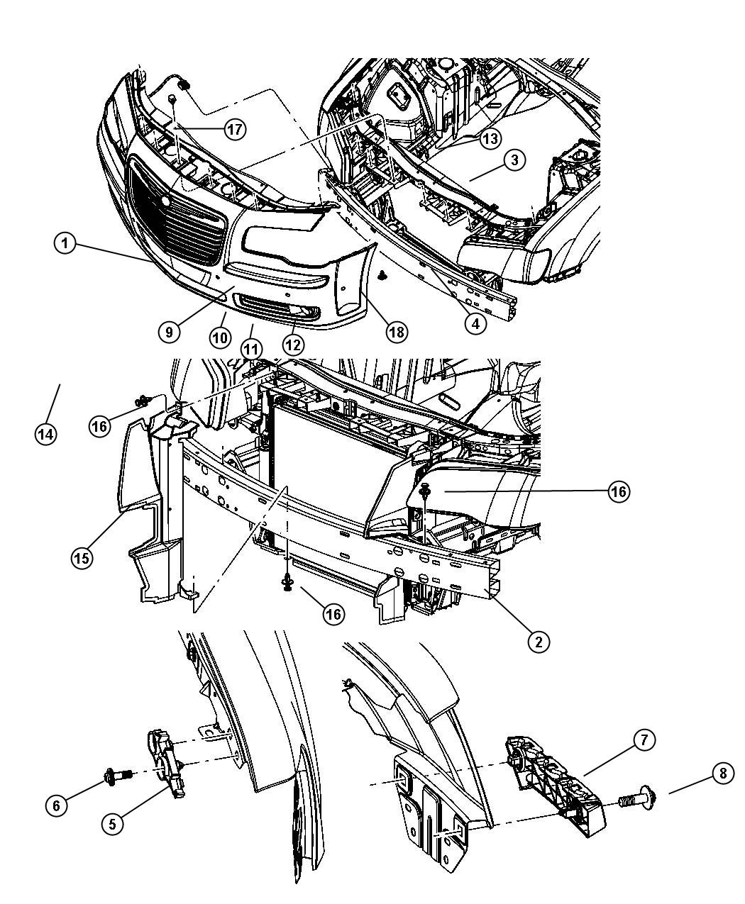 Chrysler 300 Bracket Fascia Support Left