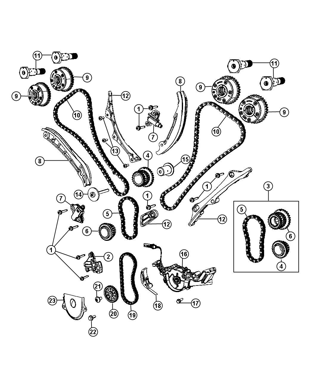 Dodge Guide Timing Chain Primary Installedthe