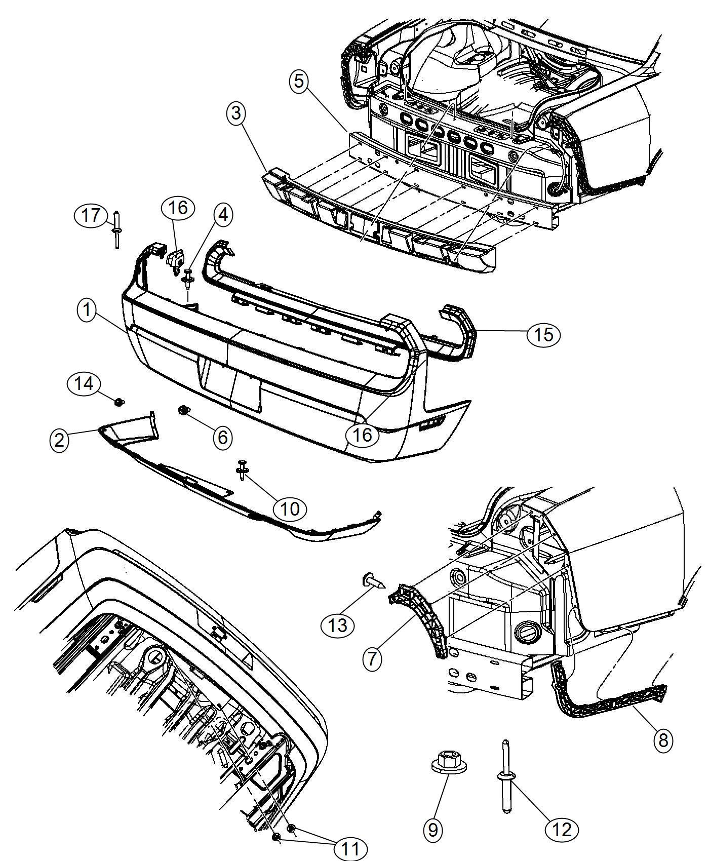 Dodge Fascia Rear Dual Rear Exhaust W Bright Tips