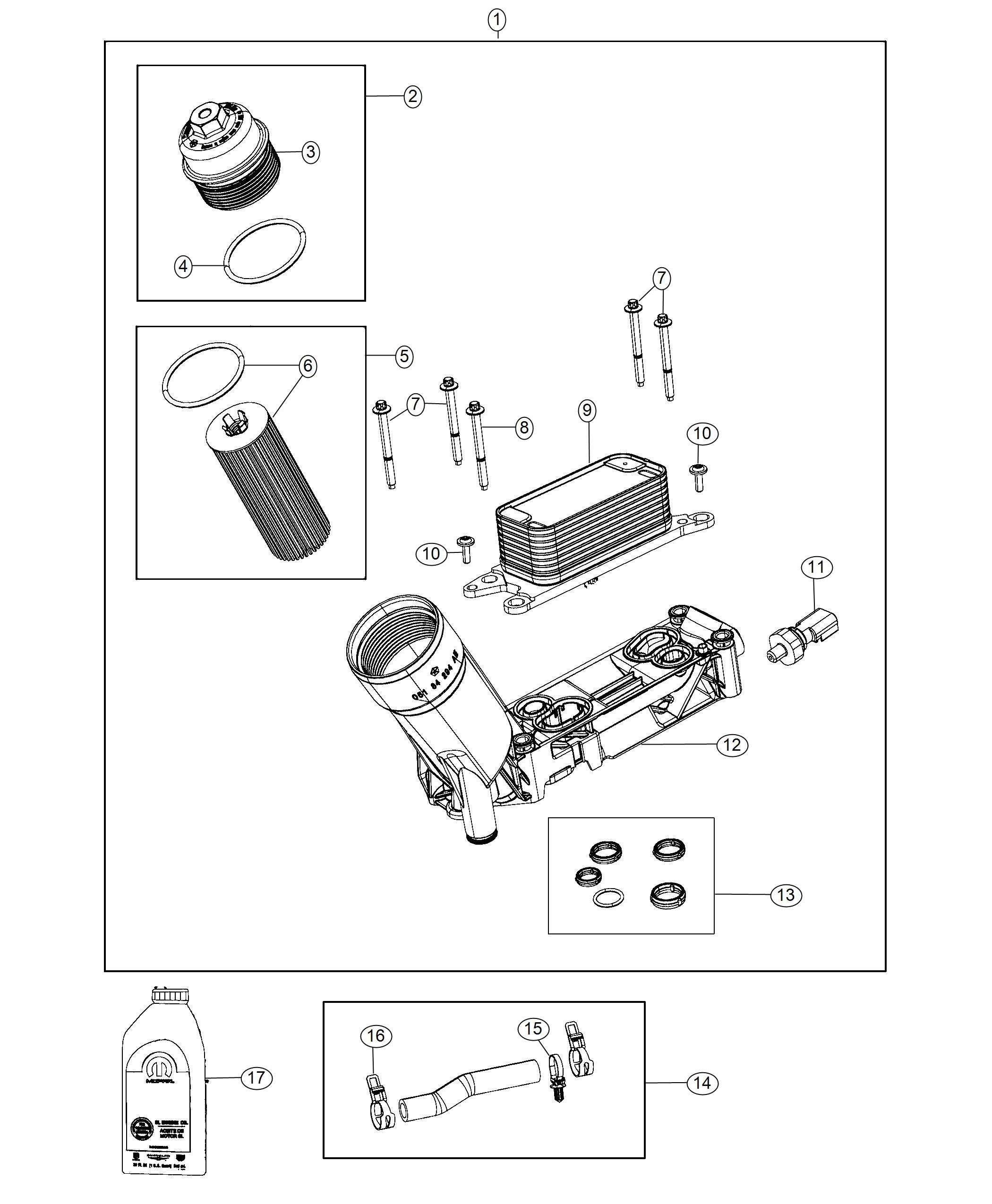 Jeep Wrangler Hose Oil Cooler Outlet Adaptercooler