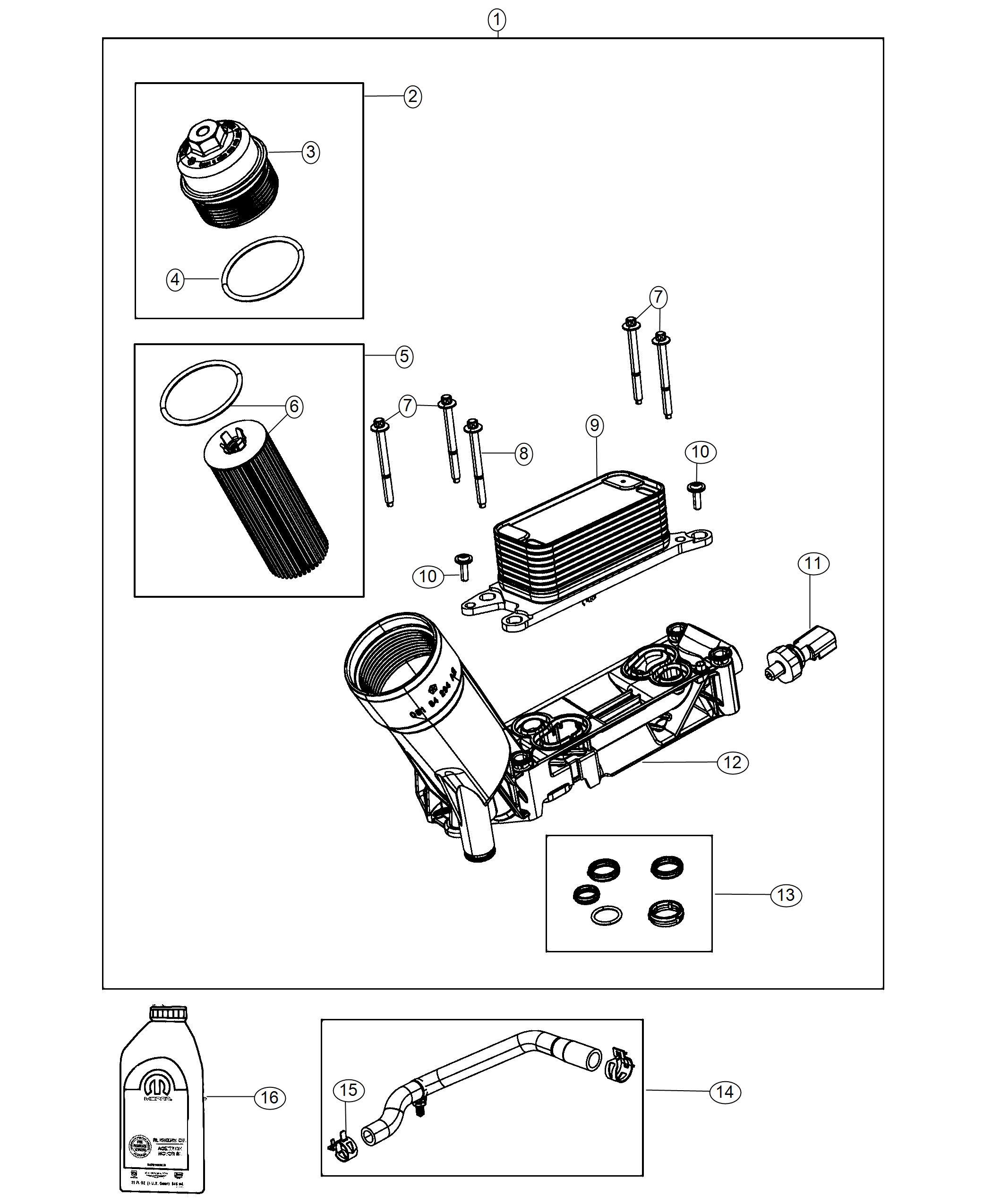 Dodge Durango Sensor Oil Pressure Engine Oil Cooler