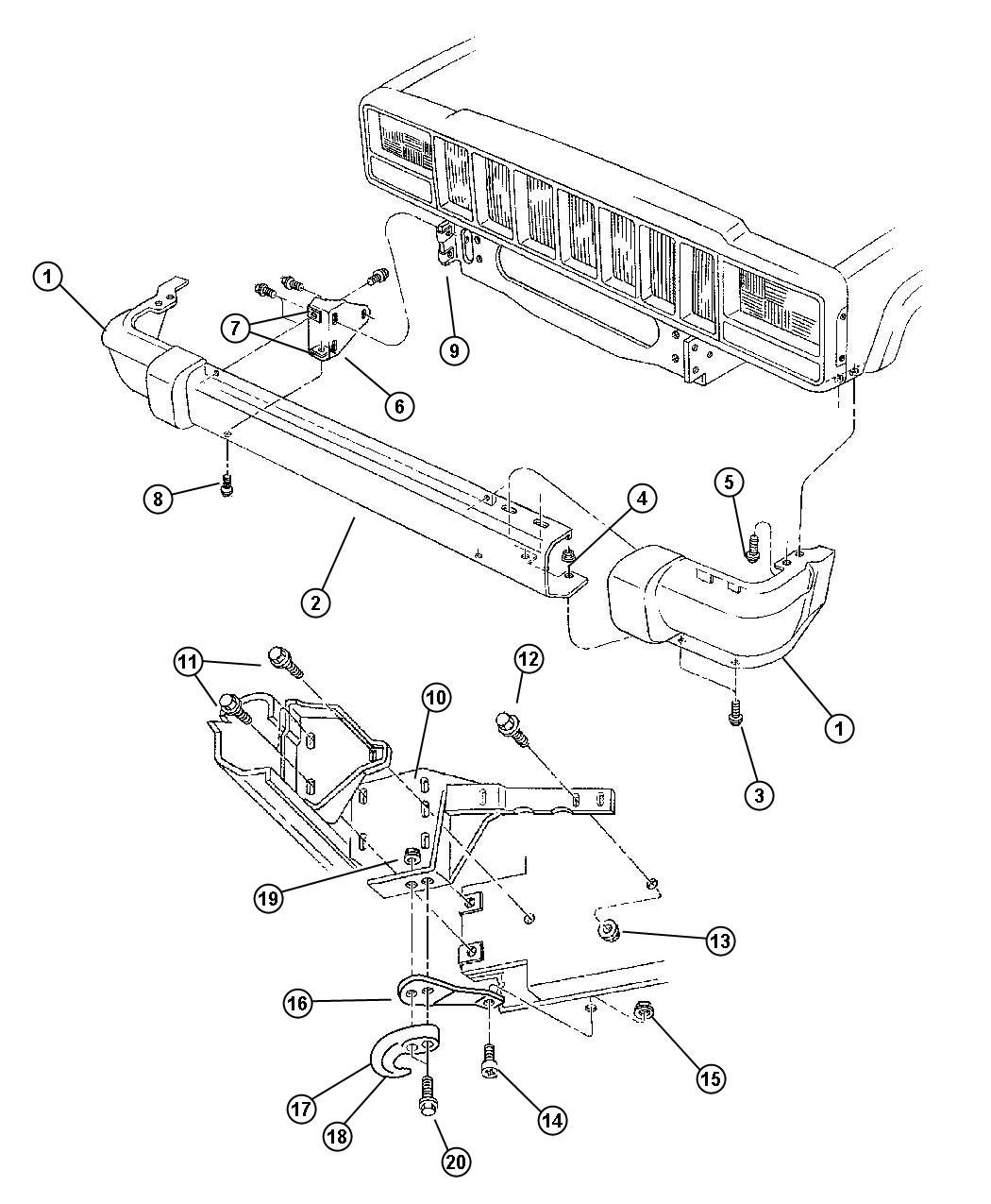 Jeep Cherokee Screw Hex Head M6x1x20 Cable Routing