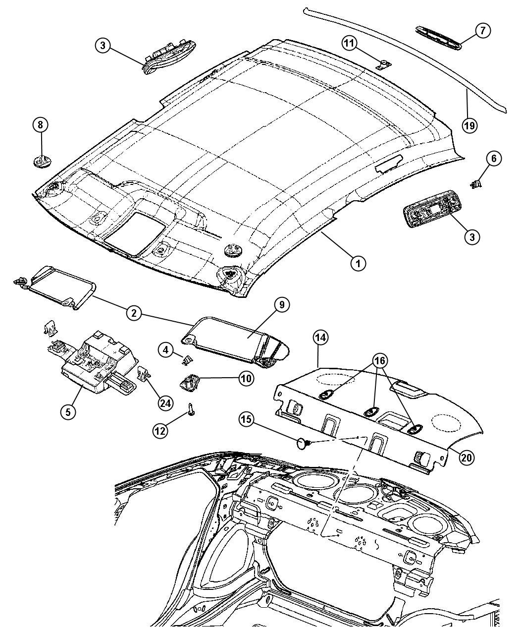 Dodge Magnum Retainer Headliner Without Power Sunroof