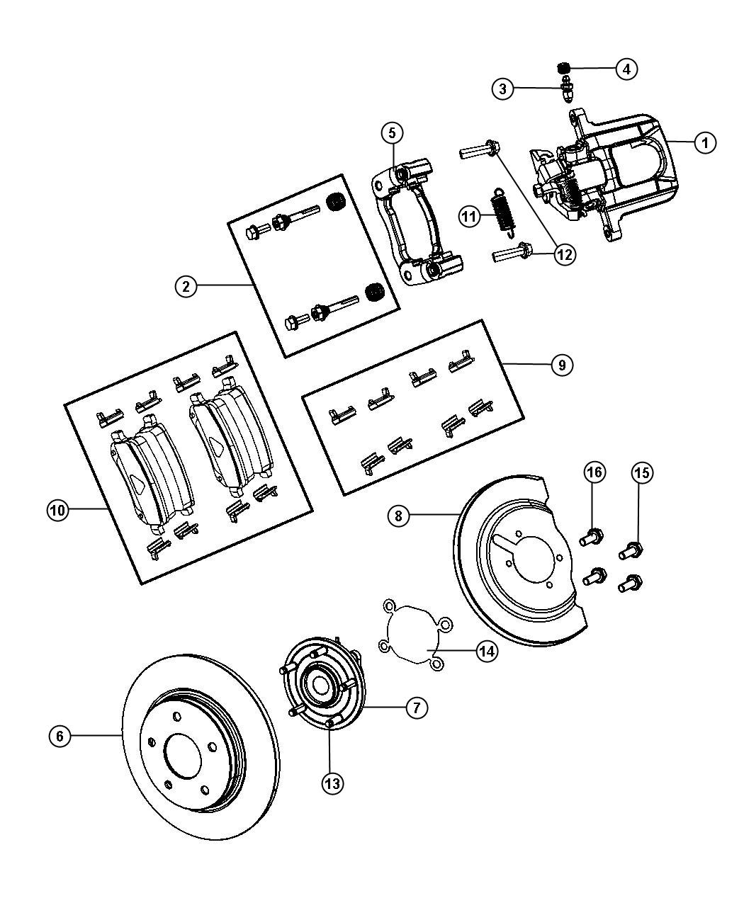 Dodge Journey Rotor Brake Rear Disc Wheel Suspension
