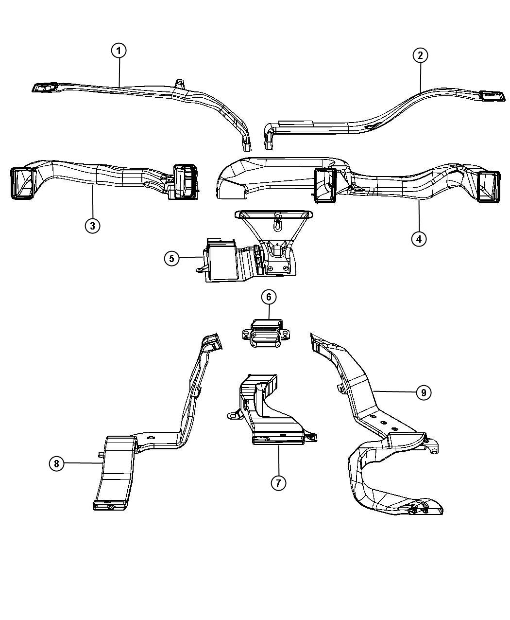 Dodge Ram Duct Center With Center Console Floor Length Bucket