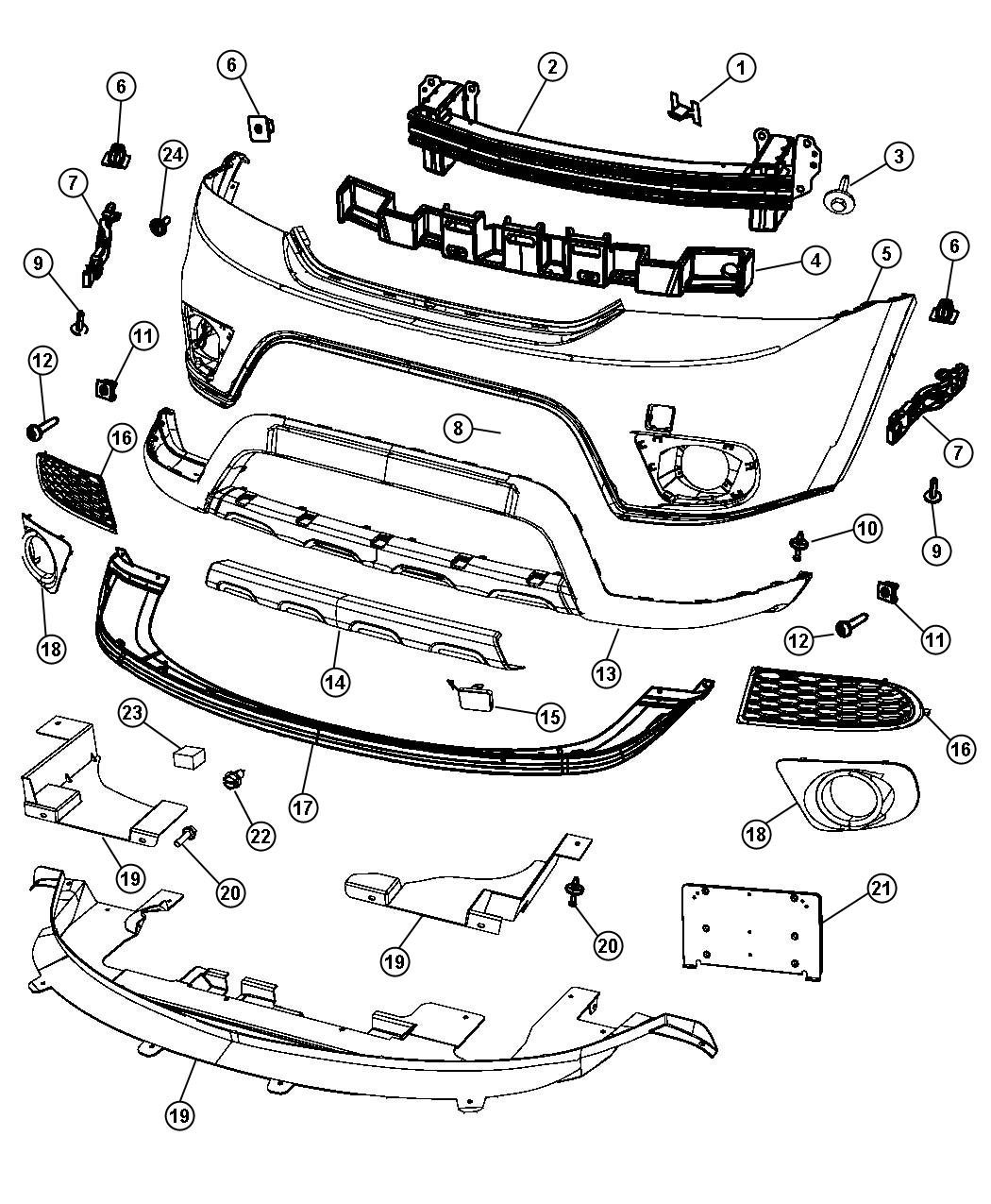 Dodge Journey Bracket Fascia Support Right Front