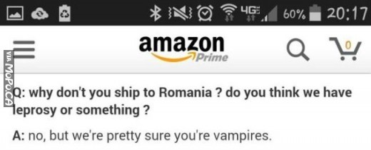 Why Amazon won't ship to Romania.