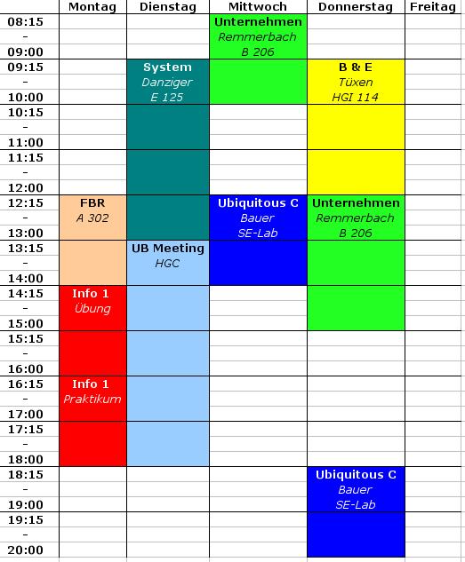 Stundenplan WS09