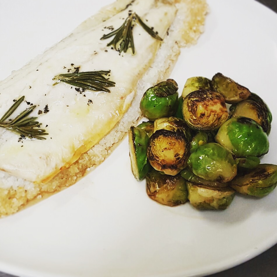 Seabass fillet in salt crust with Brussel sprouts