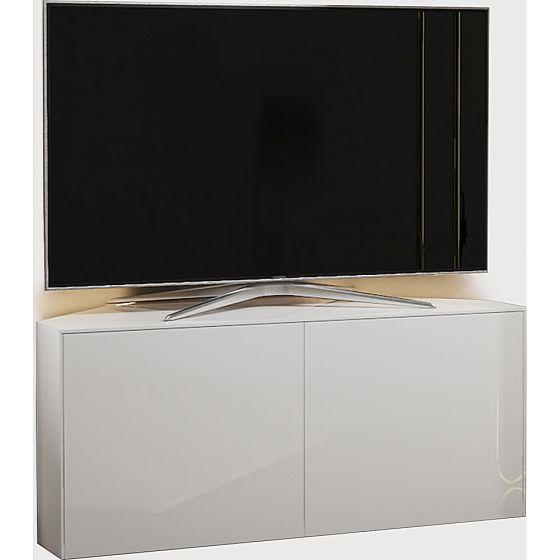 frank olsen 110cm white high gloss led corner tv cabinet