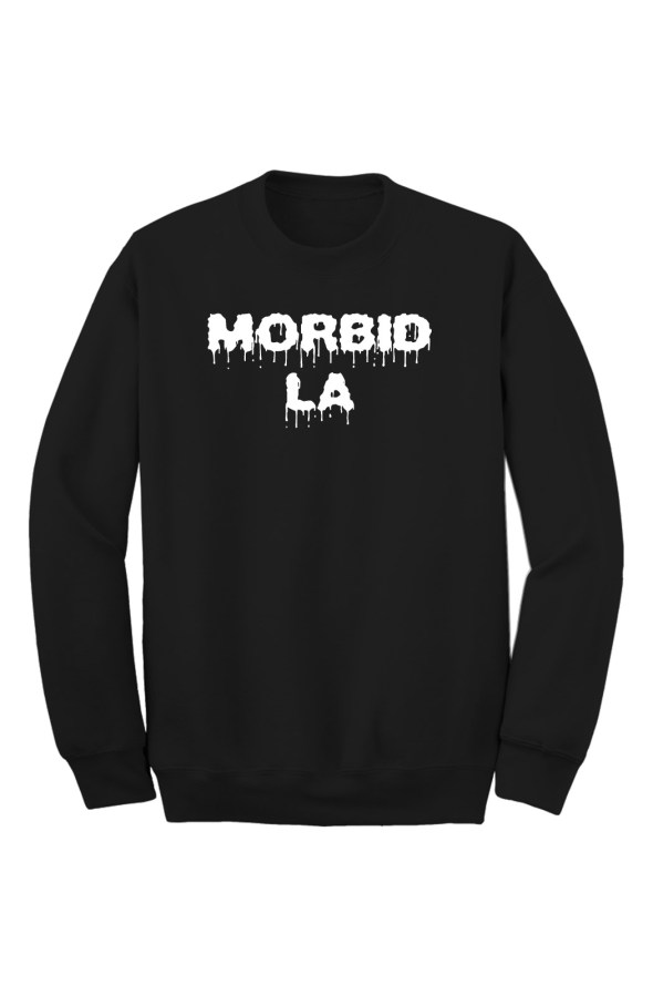 MORBID LA Clothing Black Drip Crew Sweater Streetwear