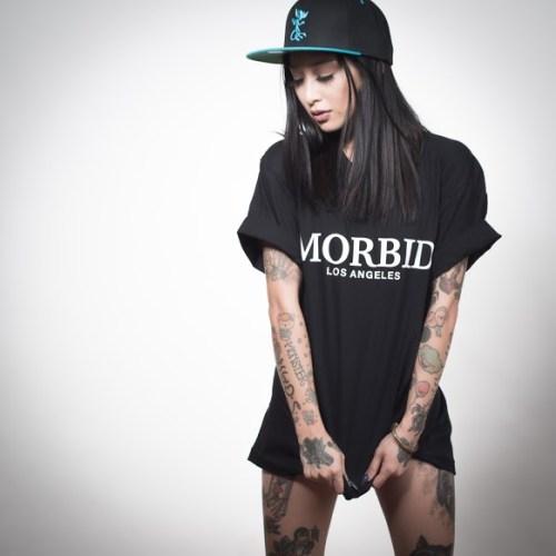 Morbid Fiber Los Angeles Streetwear Black Fancy Type T-Shirt