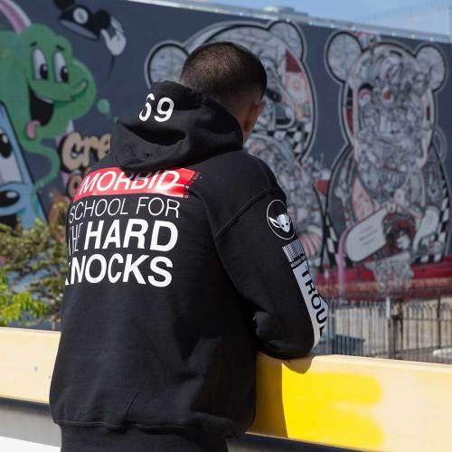 Morbid Fiber Los Angeles Streetwear Hard Knocks Black Hoodie